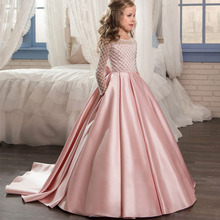Plus size belle dress children Girls formal roupa infantil Rhombus long sleeve Bow vestido de princesa festa kleider