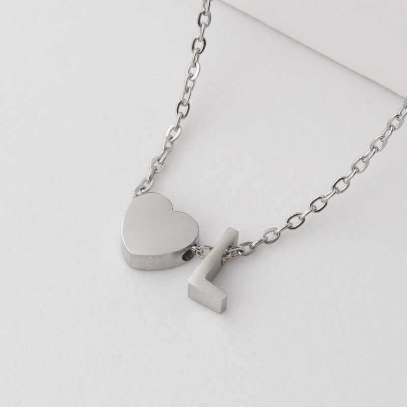 Оригинальные ожерелья с буквой для женщин и мужчин, модные серебряные ожерелья из нержавеющей стали с надписью «Love Heart» + оригинальные ожерелья для пар, подарок для влюбленных