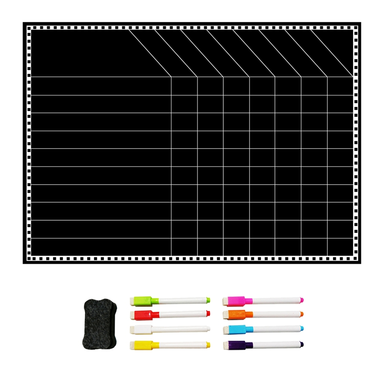 1 Set Black Magnetic Menu Board Weekly Meal Planner Dry Erase Board For Kitchen Refrigerator And Grocery