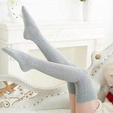 Calcetines hasta la rodilla de algodón para mujer, Medias por encima de la rodilla, cálidas, Media larga, sexys, 2020