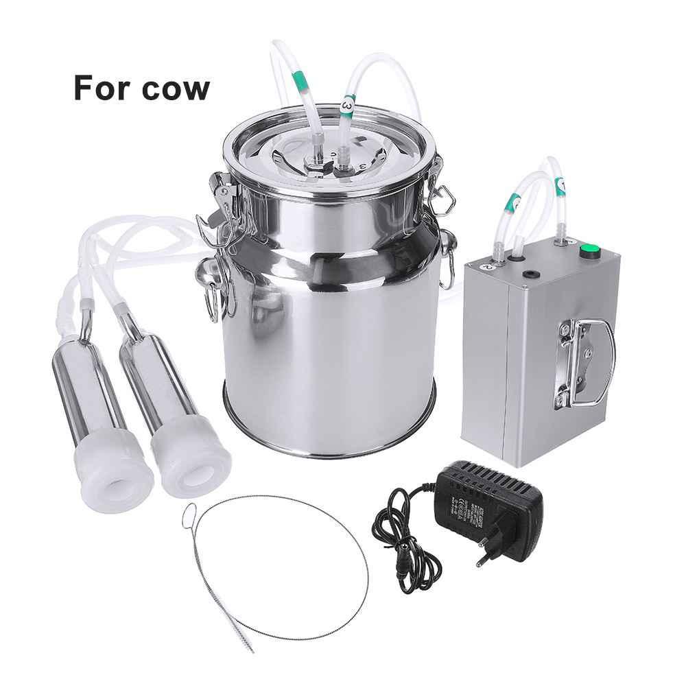 5L 24 ワット牛ヤギ羊搾乳電動搾乳機ステンレス鋼バケット二ヘッドシリコーンホースと制限バルブ