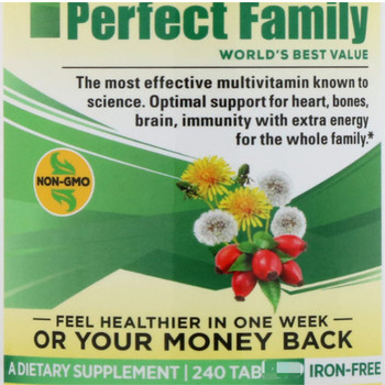 Perfect family, multivitamin, iron free, 240 tab lets