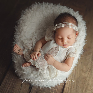 Jane Z Ann bebé niña pequeña princesa blanco encaje vestido estilo Bodi 2 tamaños recién nacido/1 año estudio hecho a mano tiro trajes