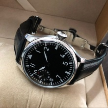 butterfly buckle 44mm GEERVO black dial Asian 6497 17 jewels Mechanicalmovement men's watch