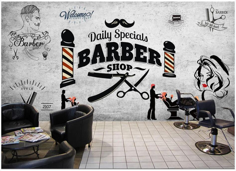 WDBH 3d Photo Wallpaper Custom Mural Retro Hair Salon Trend Hairdressing Beauty Salon Barber Shop Decor Living Room Wall Paper