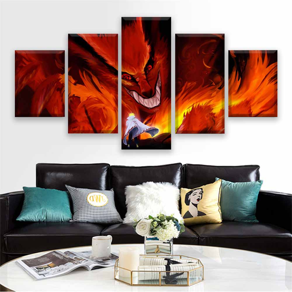 Canvas Print Home Decor Modular Nine Tailed Fox Abstract Picture 5 Piece Animation Naruto Painting Living Room Poster Framework image