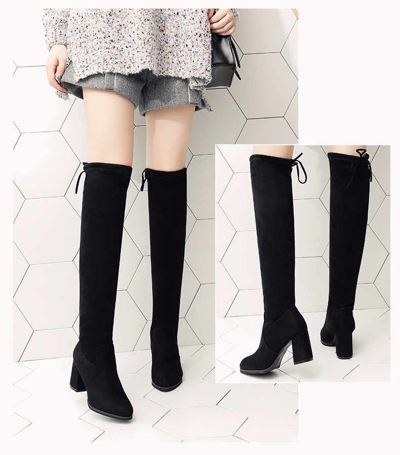 Vertvie ฤดูหนาวฤดูใบไม้ร่วงผู้หญิงรองเท้าสีดำเหนือเข่ารองเท้าบูทเซ็กซี่หญิงฤดูใบไม้ร่วงฤดูหนาว Lady ต้นขาสูงรองเท้าสบายๆรองเท้าขนาด