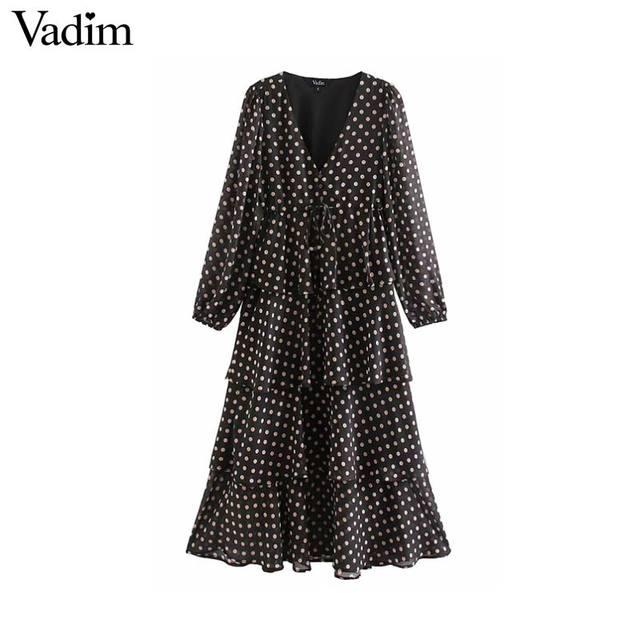 Vadim Nữ Sang Trọng Áo Chấm Bi Cổ V Đầm Midi Tay Dài Thắt Nơ Buộc Tất Xù Nữ Mặc Công Sở Sang Trọng Áo vestidos QD136