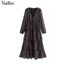 Vadim נשים שיק פולקה נקודות V צוואר midi שמלה ארוך שרוול עניבת פרפר אבנט ראפלס נקבה משרד ללבוש שיק שמלות vestidos QD136