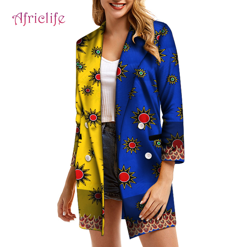 WY6427 Double Breasted Women Blazer One Pcs Fashion Lady Top With Appliques African Women Clothing Long Type Blazer Coat