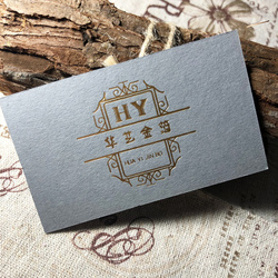 500 cards Matt Gold foil Embossed Grey Paper Card 400gsm 90x50mm