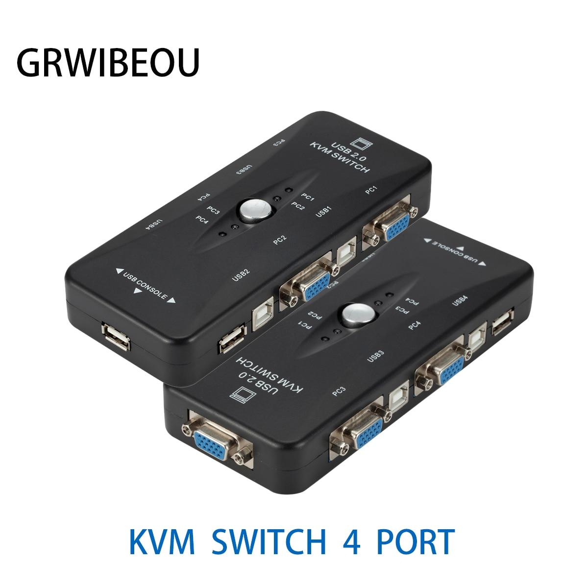 4 порта USB2.0 KVM переключатель коробка для мыши клавиатуры принтера совместный переключатель 200 МГц 1920x1440 VGA монитор переключатель коробка ада...