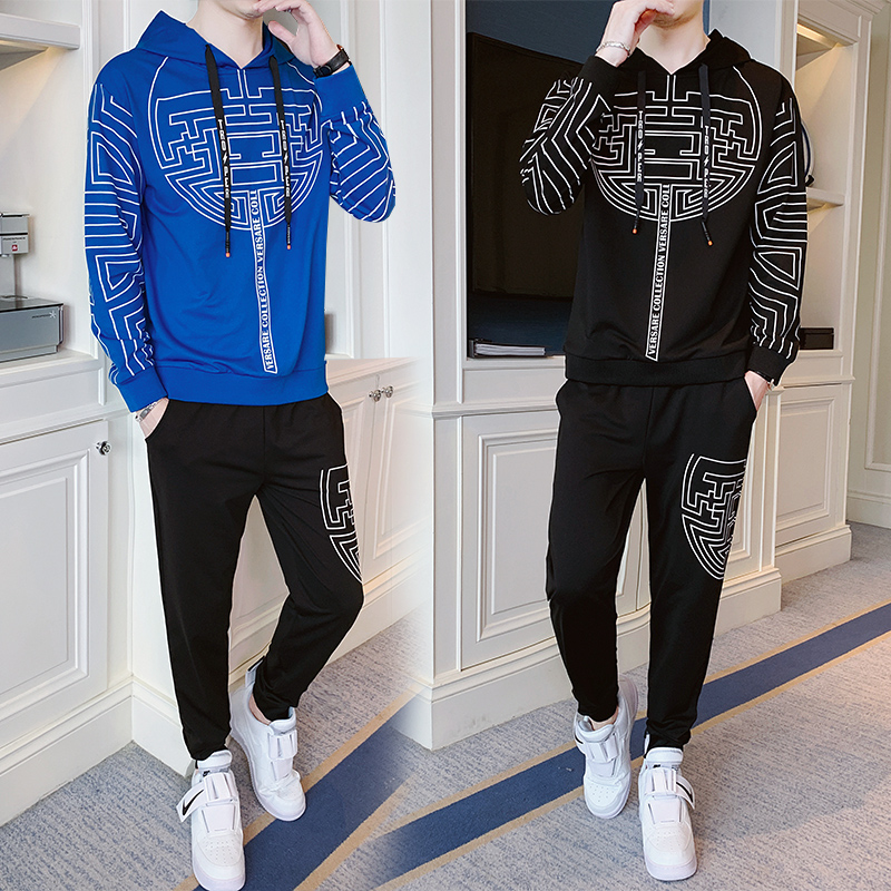 New 2019 Autumn Winter Men's Sweatsuit Sets 2 Piece  Jacket Track Suit Pants Casual Tracksuit Men Sportswear Set Clothes