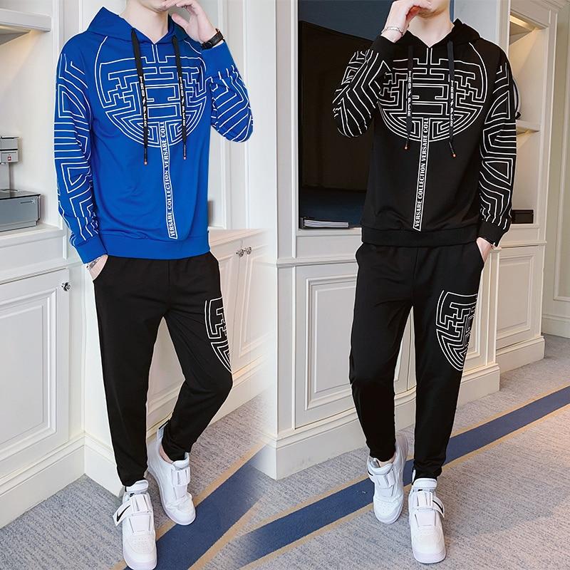 New 2019 Autumn Winter Men's Sweatsuit Sets 2 Piece  Jacket Track Suit Pants Casual Tracksuit Men Sportswear Set Clothes
