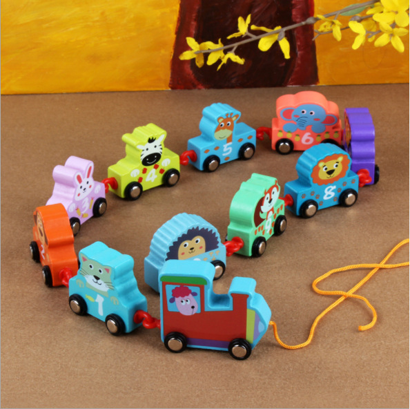 Wooden With Numbers Animal Train Children Early Education Wood With Numbers Animal Small Train Educational Toy