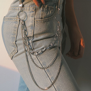 Fashion Punk Hip-hop Trendy Single/Three Layer Belt Key Chain Waist Pants Chain Jeans Long Metal Clothing Accessories Jewelry
