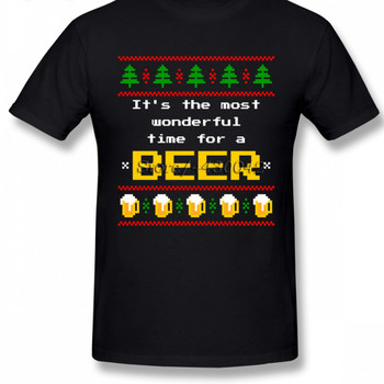 Ugly Sweater Christmas Beer Geek T Shirt For Men Plus Size Cotton Team Tee Shirt 4Xl 5Xl 6Xl Camiseta 034577