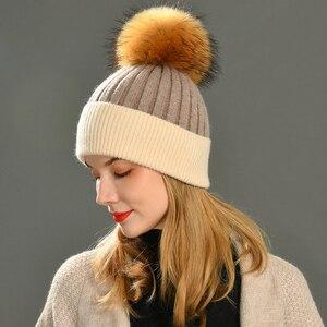 Image 5 - Frauen Winter Pelz Ball Kappe Kaschmir Hüte Beanie Cap Frau Weibliche Warme Kaninchen Fell Mischung Gestrickte Pelz Ponpon Hut Caps