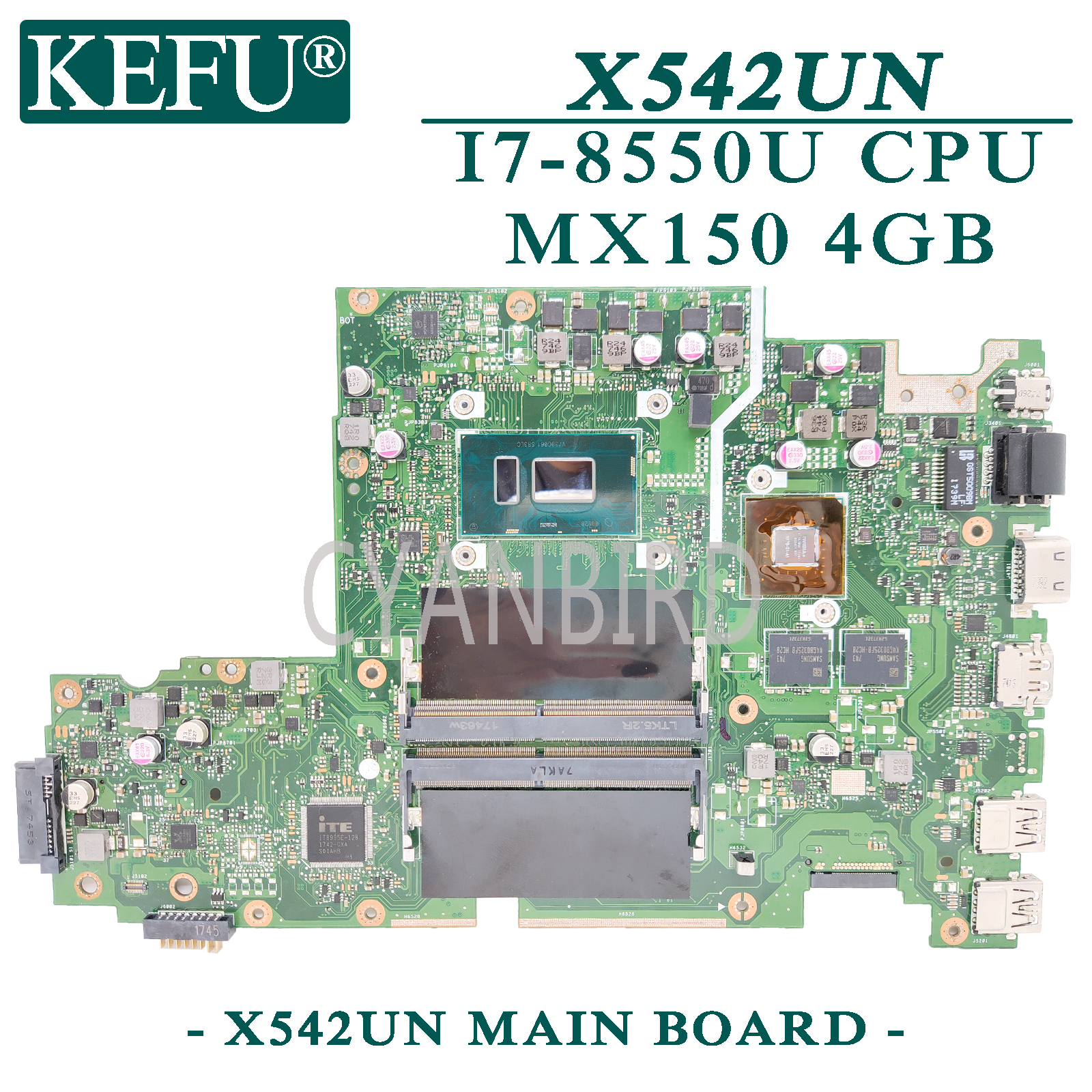 KEFU X542UN original mainboard for ASUS VivoBook X542UN X542UR X542UQ X542U FL8000U with I7-8550U <font><b>MX150</b></font>-4GB <font><b>Laptop</b></font> motherboard image