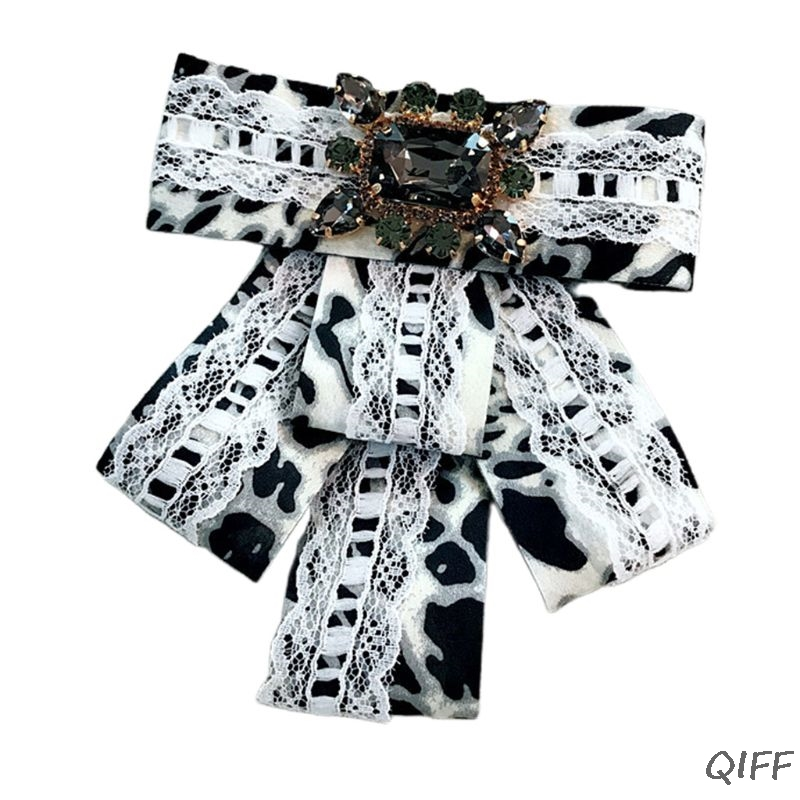 Women Lace Leopard Necklace Bow Tie Imitation Crystal Jewelry Collar Brooch Pins AXYD