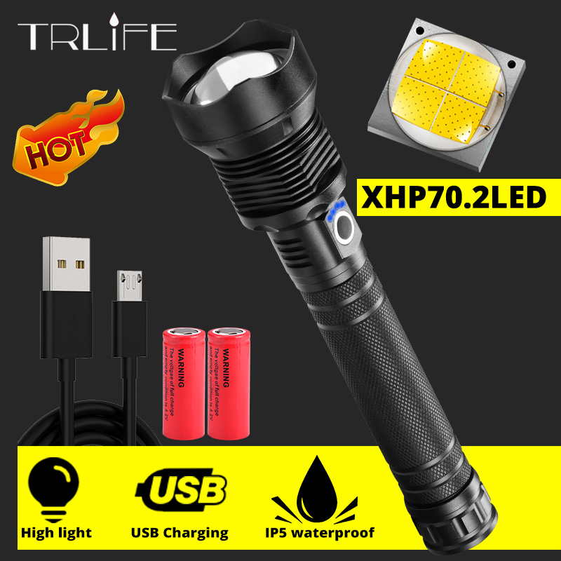 Super Powerful LED Flashlight XHP70.2 XHP50.2 Rechargeable USB Zoom Led Torch XHP70 Power18650 26650 Self Defense Hunting Lamp