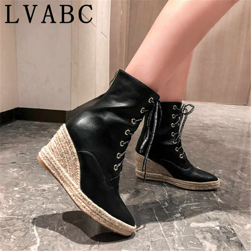 Nevera New Women Shoes,Ladies Fall Winter Vintage Leather Ankle Fashon Lace Comfortable Party Shoes Boots