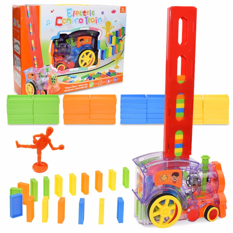 Kids Domino Train Car Set Sound Light Automatic Laying Domino Brick Colorful Dominoes Blocks Game Educational DIY Toy Gift