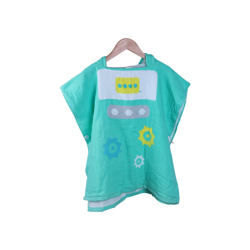 Pure Cotton Toweling Bathrobe Infant Bath Towel For Children Mantle Cartoon Animal Hooded Bath Towel Bathrobe
