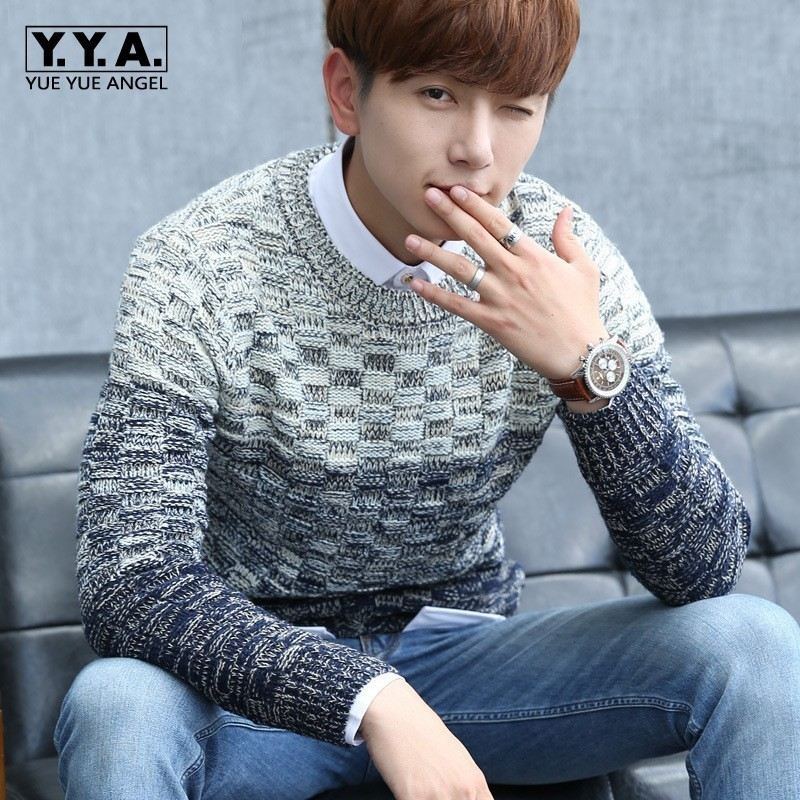 2020 Autumn Winter Mens Color Patchwork Sweater Pullover O Neck Knitted Male Tops Casual Sueter Hombre Fahion Korean Comfort Top