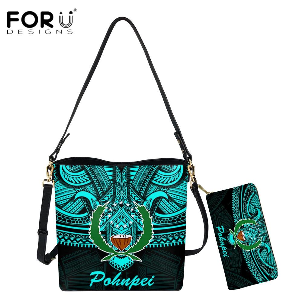 FORUDESIGNS Hot Style Female Shouder Bag And Purse 2pcs Set Polynesian Samoa Pohnpei Tribal Design Lady Casual Messenger Bags