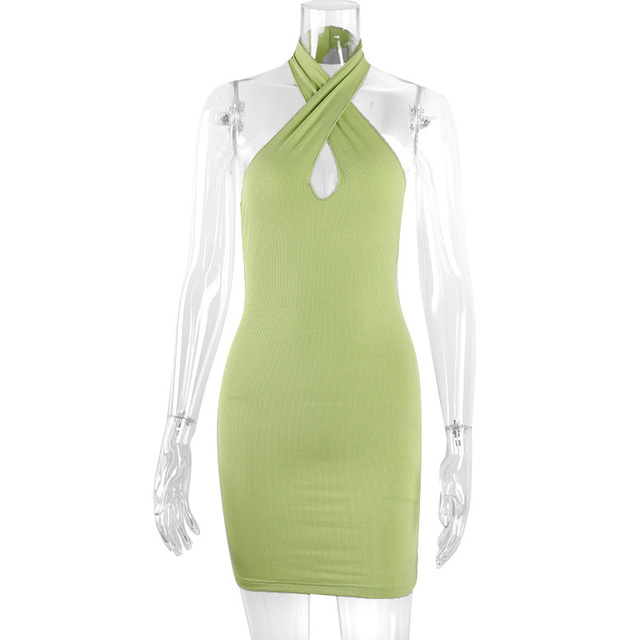 2021 Hollow Out Sexy Dress Women Green Sleeveless Y2K Backless Summer Blue Halter Neck Bodycon Mini Dresses Beach Party Fashion 4