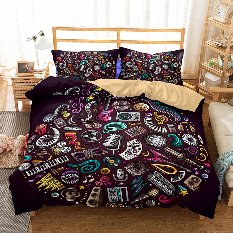 3d guitar series bedding two or three sets of bedding music equipment bedding set