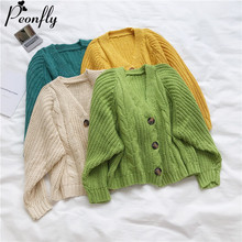 PEONFLY Style coréen tricoté pull Cardigans femmes à manches longues simple Breaster femme Cardigan solide chandails Sueter Mujer(China)