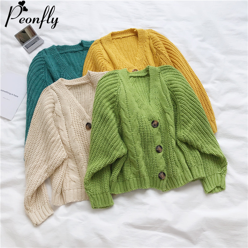 PEONFLY Korean Style Knitted Sweater Cardigans Women Long Sleeve Single Breaster Female Cardigan Solid Sweaters Sueter Mujer