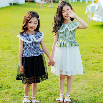 cute girls plaid dress summer 2020 kids dresses for girl party princess dress children clothes size 3 4 5 6 7 8 9 10 12 14 years