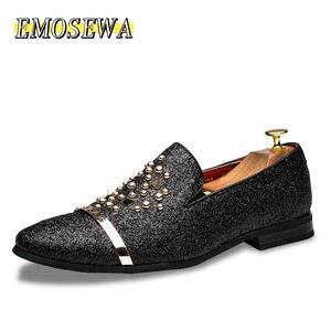 Image 2 - EMOSEWA chaussures en strass pour hommes, chaussures de luxe, Style italien, à la mode, chaussures formelles, en boîte de nuit, mariage, mocassins, 2019