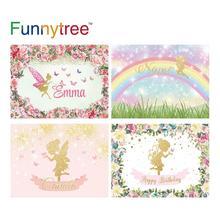 Funnytreeวันเกิดพื้นหลังสำหรับสาวฤดูใบไม้ผลิดอกไม้สีชมพูผีเสื้อGolden Glitter Halo Fairy PhotozoneฉากหลังElfไวนิล
