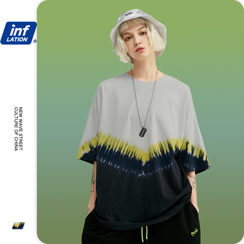 INFLATION 2020 Men's Fashion Handmade Tie Dye T-shirt V-type Color Block Cotton Men T Shirt Streetwear Hip Hop  Tshirt 1115S20