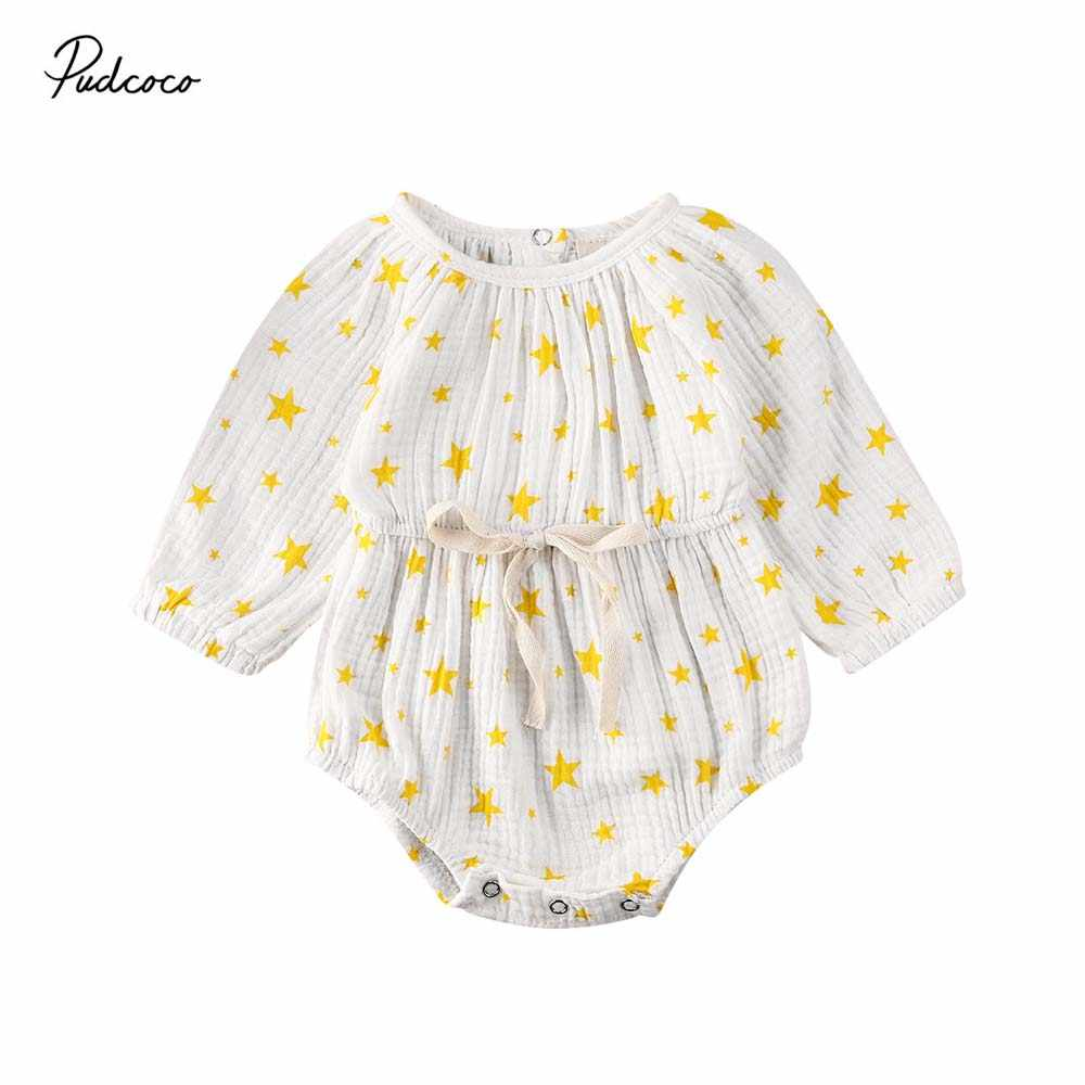 2020 Baby Spring Autumn Clothing Newborn Baby Girl Sweet Clothes Stars Printed Bodysuit Cotton Linen Jumpsuit Long Sleeve Outfit