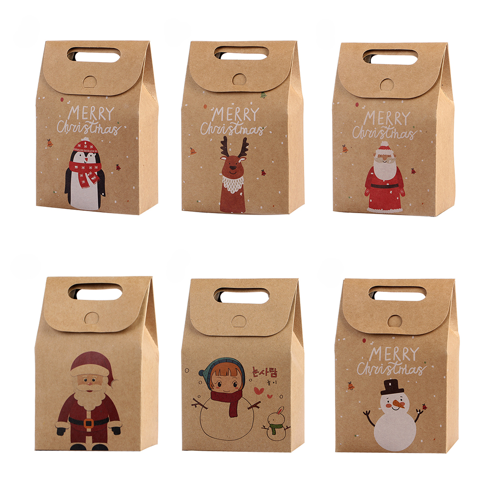 1Pcs Kraft Paper Xmas Party Cookies Candy Present Gift Bag Luxury Wedding Bag Christmas Candy Box Christmas Party Accessories 11