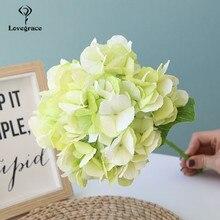 Bridal Bouquet Flower Lovegrace Artificial-Silk DIY Hydrangea Home-Decor Single-Branch