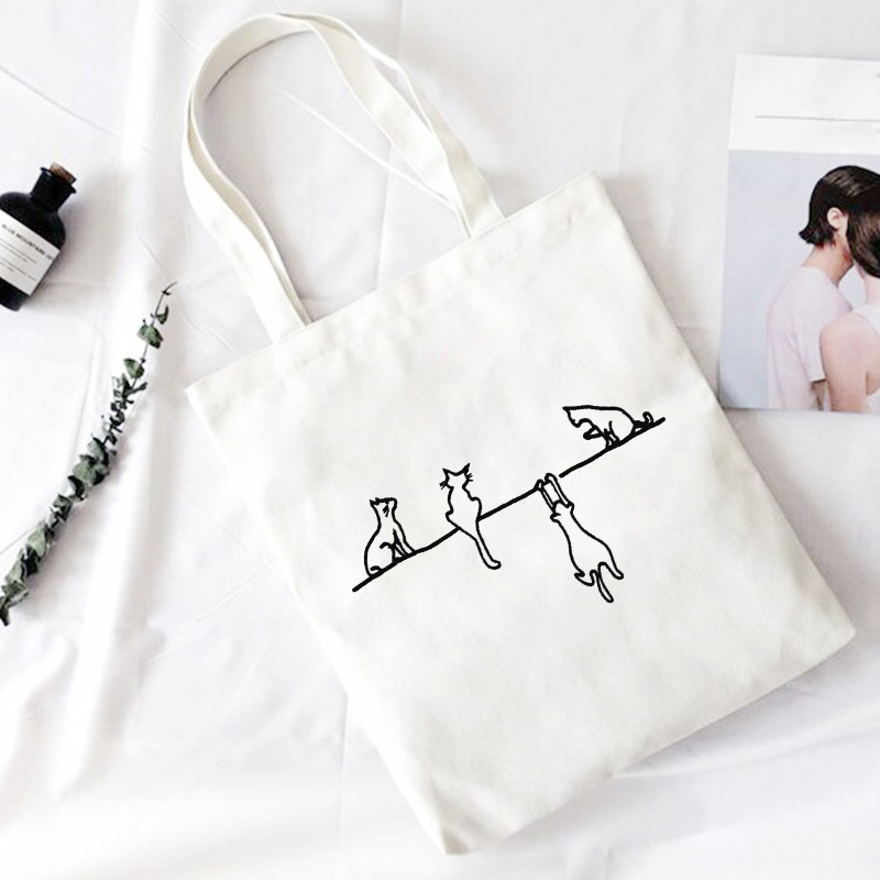 Four Cute Cat Print Crossbody Bags Large Capacity Harajuku Shoulder Canvas Bag Casual Fun Handbag Ulzzang New Women Bag Purse