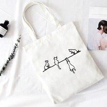 Four Cute Cat Print Crossbody Bags Large Capacity Harajuku Shoulder Canvas