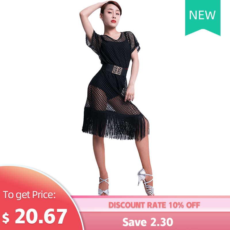 Latin Dance Wear Female New Sexy V-neck Practice Clothing Performance Clothes Hollow Latin Training Tassel Hemlines Dress
