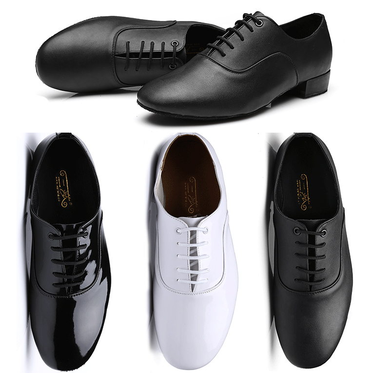 Basic Men's Ballroom Latin Tango Dance Shoes Low Heel Lace-Up White Black Leather Boys Salsa Dancing Shoes Plus Size Sport Shoes