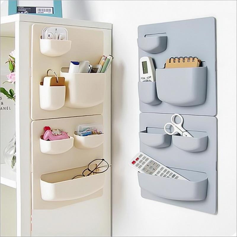Multifunction PS Plastic Storage Box Wall Self-adhesive Hanging Box Rack Home Organizer Kitchen Bathroom Accessories