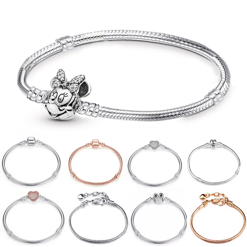 New Silver Plated Charm Bracelets Cute Mickey Snake Chain Fit Fine Basic Bracelets For Women Fashion Charms Beads DIY Jewelry(China)