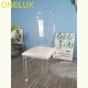 Akrylowe jadalnia krzesła kuchenne nowoczesne krzesła do jadalni z skórzana poduszka siedzenia krzesła do salonu-z płaskim pakowane tanie i dobre opinie ONE LUX = 125mm Jadalnia meble pokojowe 42w*42d*105h(cm) Minimalistyczny nowoczesny Jadalnia krzesło 50120200710 Meble do domu
