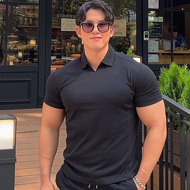 Summer Casual fashion Polo t shirt Men Gyms Fitness Short sleeve T-shirt Male Bodybuilding Workout POLO Tees Tops Clothes 6