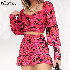 Image 3 - Hugcitar 2020 lunga del manicotto di soffio stampa floreale sexy carino crop top ruffles skirt 2 pezzi set donne della molla streetwear outfit partito